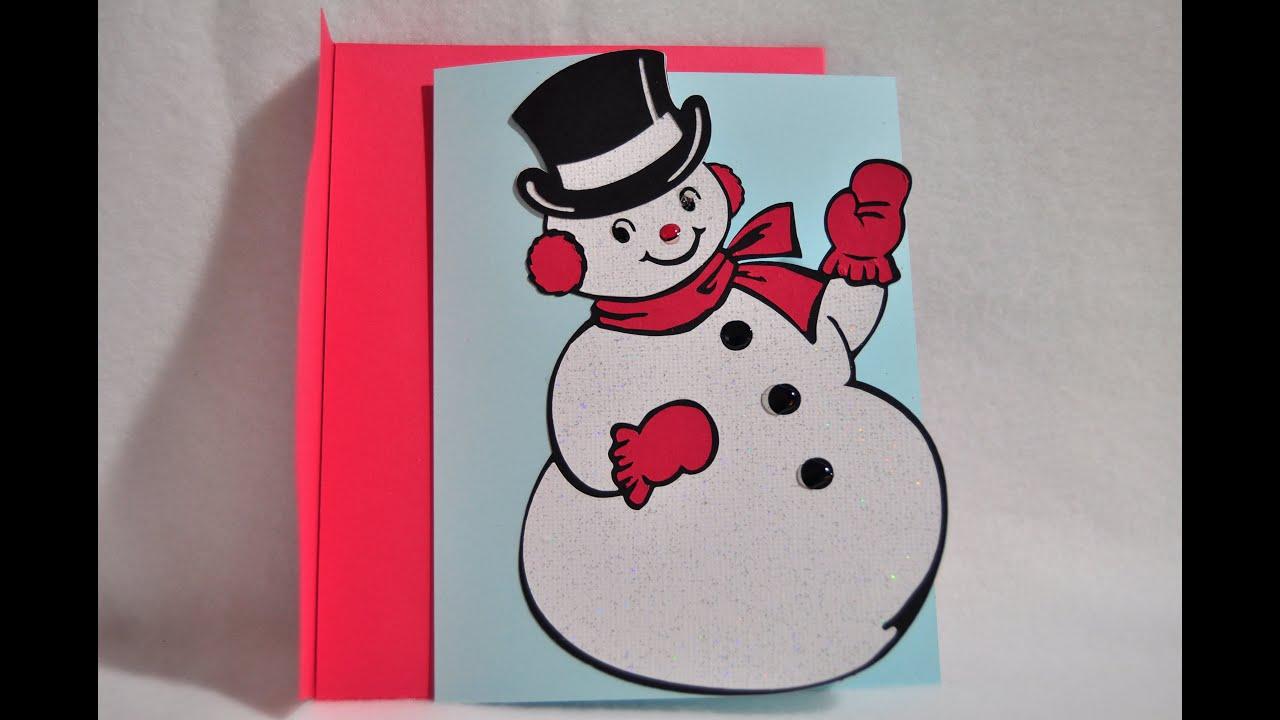 Fast & Easy - Snowman Christmas Card - Cricut Explore - YouTube