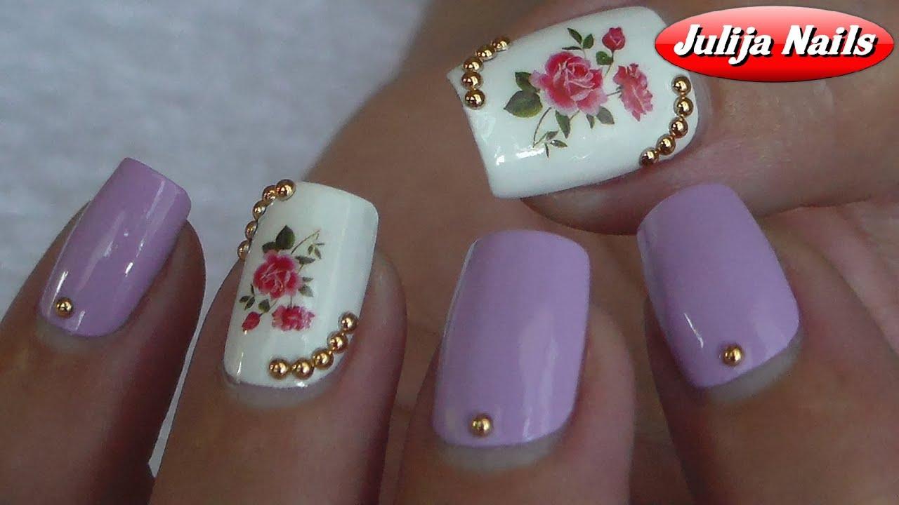 Дизайн с наклейками на ногтях фото