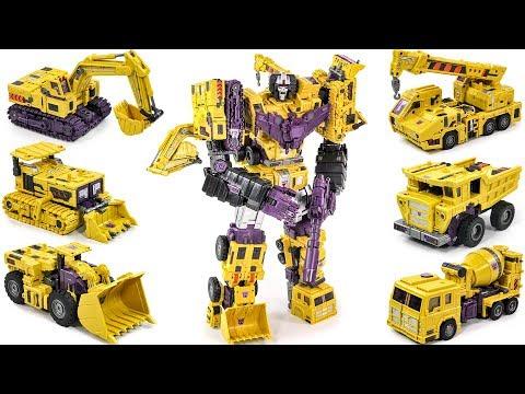 Transformers Construction Yellow Color Toy World Devastator 6 Constructor Car Combine Big Robot Toys