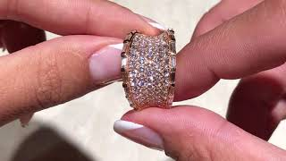 Diamond Fan Ring 4.0 Carat VVS Diamonds 18k Rose Gold Size 6.5