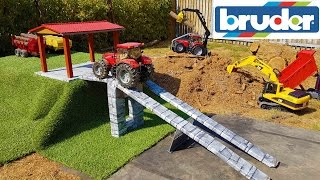 BRUDER toys R/C tractor farm bridge action