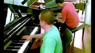 Duo steinway jazz piano jamming
