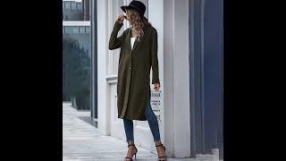 Осень 2021 женское длинное пальто для женщин с боковым разрезом элегантное армейское зеленое
