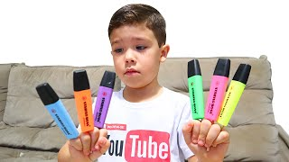 Preschool Toddler Learning Colors ! Rafael aprendendo cores com Canetas Mágicas