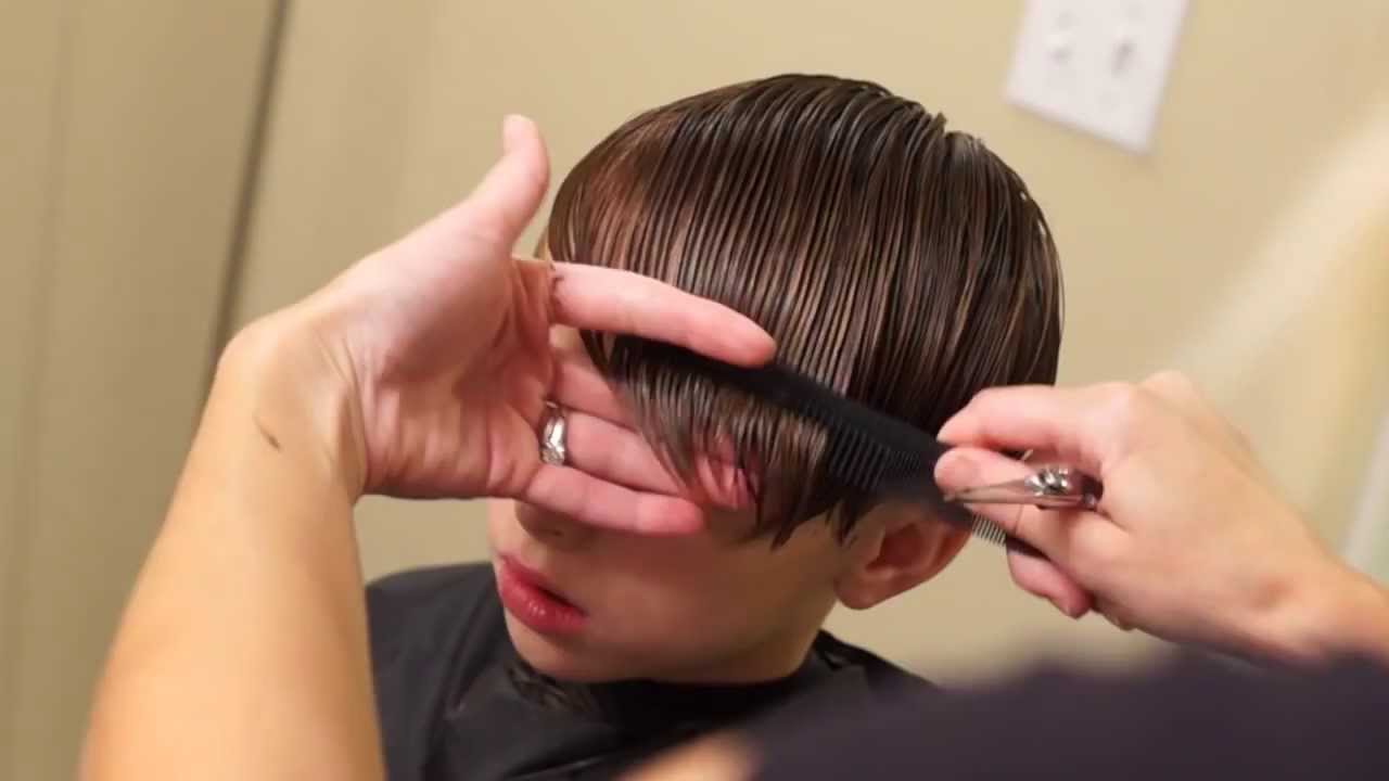 How To Hair Cut : ... Justin Bieber Side Swept Haircut // how to cut boys hair - YouTube