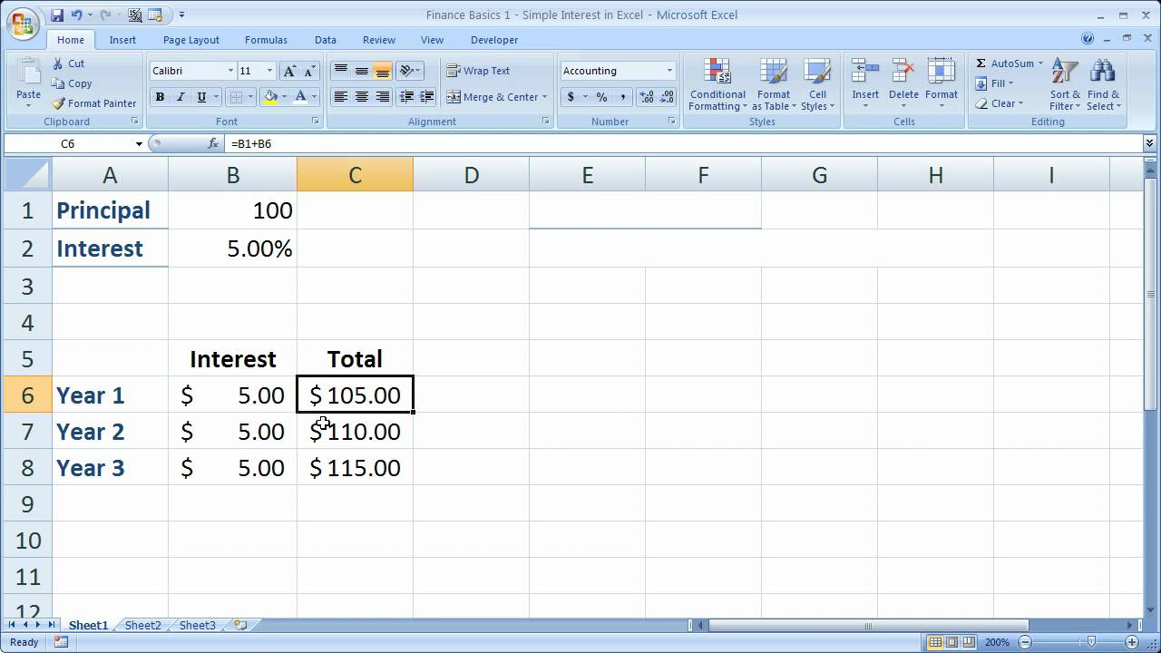 Finance Basics 1 - Simple Interest in Excel - YouTube