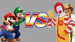 mario luigi vs ronald mcdonald colonel sanders