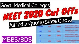 NEET2020 Cut Off for Govt. Colleges[AIQ & State Quota||MBBS/BDS] (General,OBC,SC,ST)#NEET2020 #neet