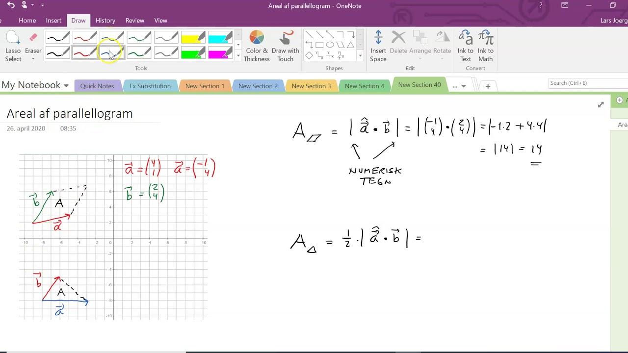 Vektor Areal af parallellogram og trekant