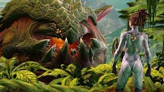 Kerrigan Awakens Ancient Primal Zerg Zurvan on Zerus (Starcraft 2: Heart of the Swarm)