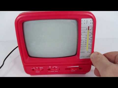 """Spectra 5"""" Portable Black & White TV With AMFM Radio - Red  Pink - Working"""