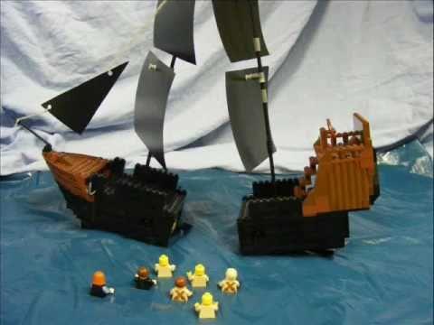 PIRATES OF THE CARIBBEAN in LEGO black ship vs wrag - YouTube