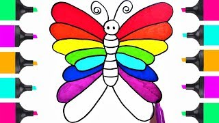 How To Draw Beautiful RAINBOW Butterfly   Coloring Book Tutorials For Kids    Learn Art Easy