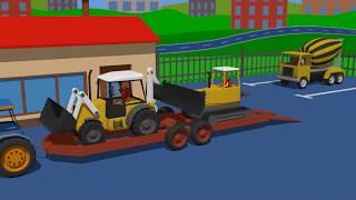 Tractor and Construction Vehicles - Heavy Equipment Trailers   Excavator, Bulldozer. Bajki