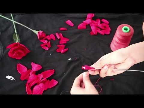 DIY  Rose Paper Flower | Làm Hoa Hồng Bằng Giấy Nhún Cực Đơn Giản