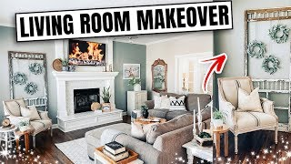Living Room Makeover on a Budget - Farmhouse Inspired DIY - Tons of Thrifted Decor