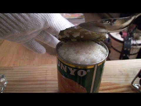 電気がなくてもご飯は炊ける空き缶炊飯 | I cook rice in the empty can.