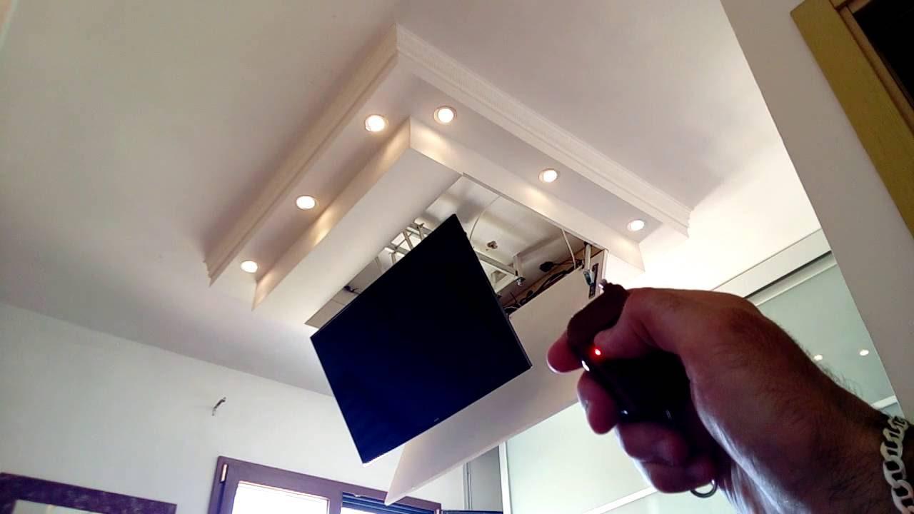 Porta Tv Da Soffitto Motorizzato.Diy Tv Lift Down In Motion