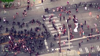 Police Helicopter Footage of May Day Protests & Arrests in Seattle