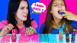 ASMR CANDY RACE PINK AND BLUE with SOUR AND SWEET | EATING SOUNDS LILIBU
