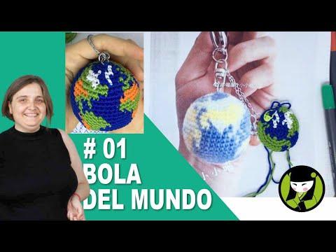 Llavero amigurumi BOLA DEL MUNDO tejida a crochet 01