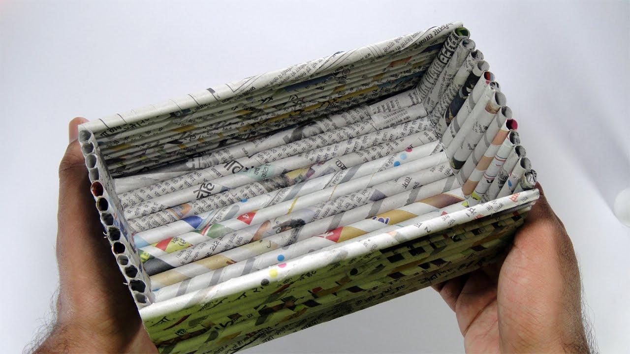 How to make a paper box paper box made with newspaper for Anything made by waste material