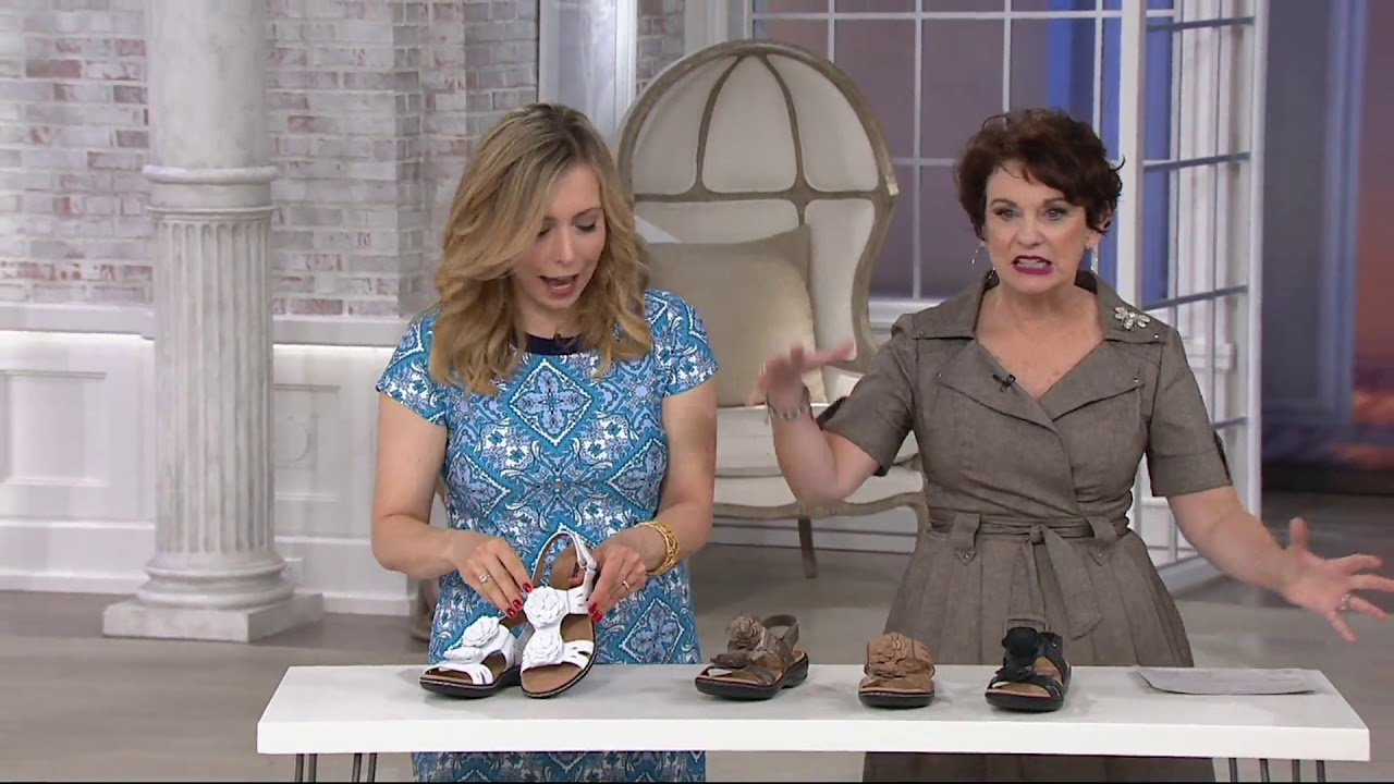 44d555da4f7c Clarks Leather Lightweight Sandals with Flower Detail - Leisa Claytin on QVC