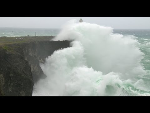 Spectacular Footage Huge Waves Smash Into Okinawa