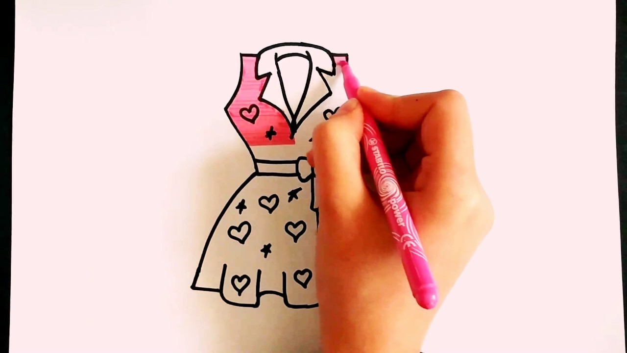 Elbise Nasil Cizilir Elbise Cizimi How To Draw Dress Renkli