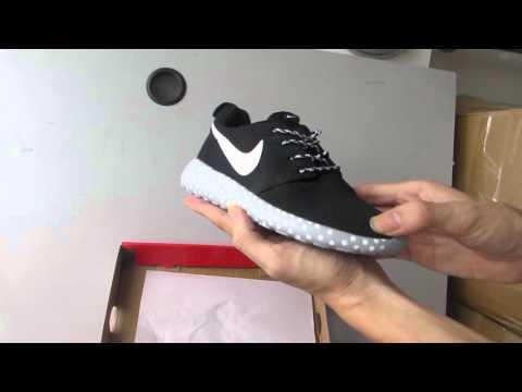 premium selection 6eaff 47181 Nike Roshe Run Mesh White Black Polka Dot Sole Women Shoes