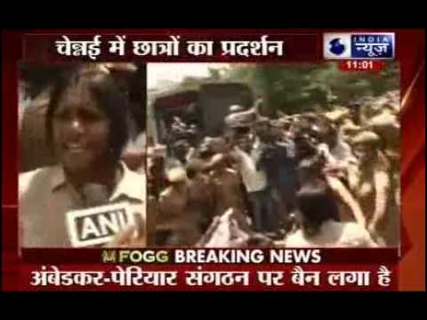Protests outside IIT-Madras against ban on students