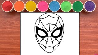 Tô Màu Tranh Cát MẶT NẠ NGƯỜI NHỆN - Colored sand painting Spiderman Mash (Rainbow Candy)