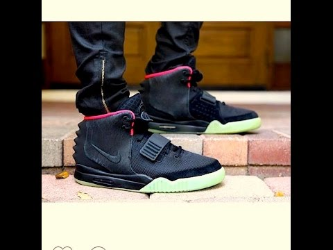 Nike Air Yeezy 2 Solar Red On Foot