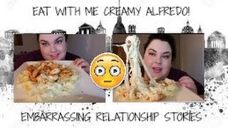 MUKBANG/CREAMY, CHEESY FETTUCCINI ALFREDO AND JUMBO SHRIMP/EAT WITH ME