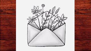 Mektup İçinde Çiçek Çizimi - Kolay Karakalem Çizimleri Nasıl Yapılır - Çizim Mektebi Basit Çizimler
