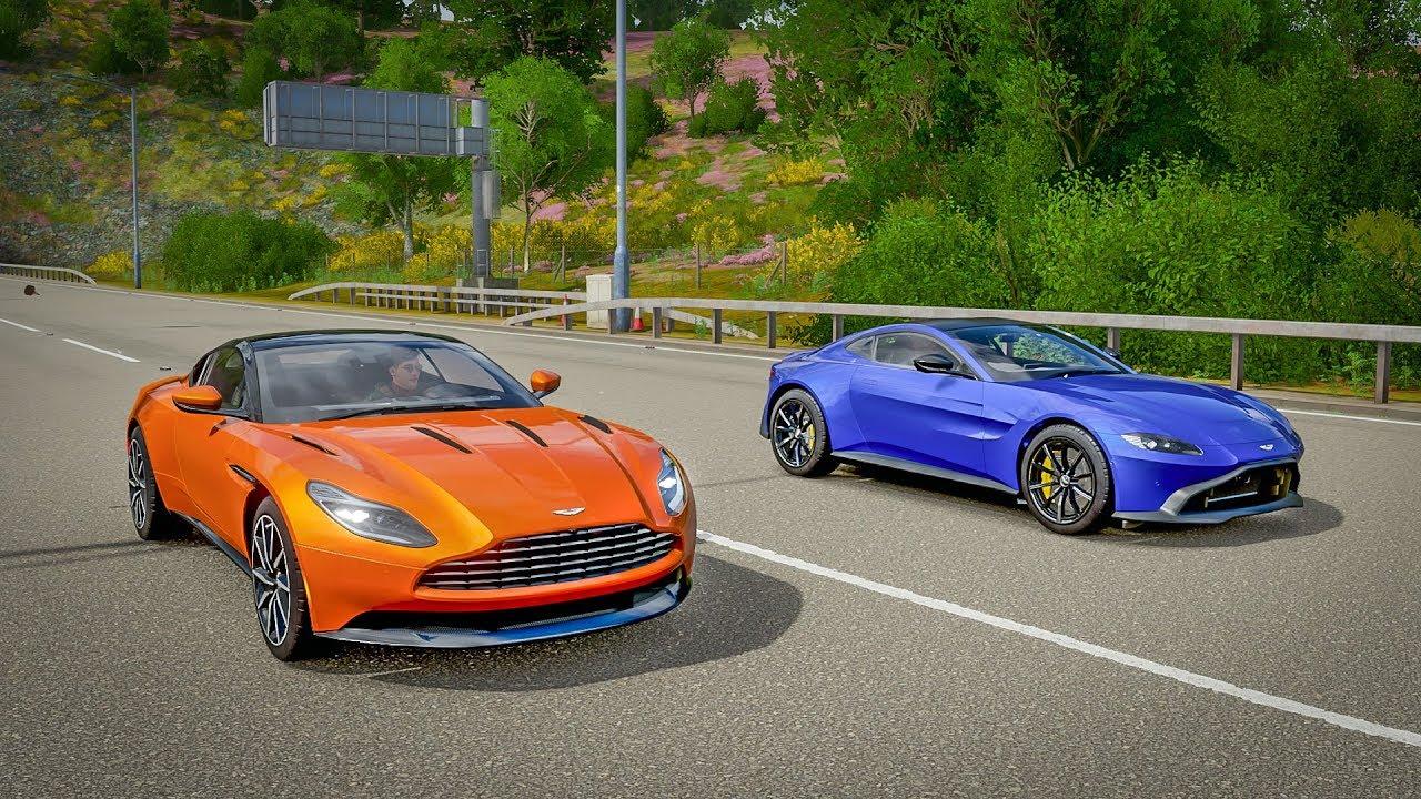 Aston Martin Db11 Vs V8 Vantage Drag Racing With Ahmad Galal Forza Horizon 4 Youtube
