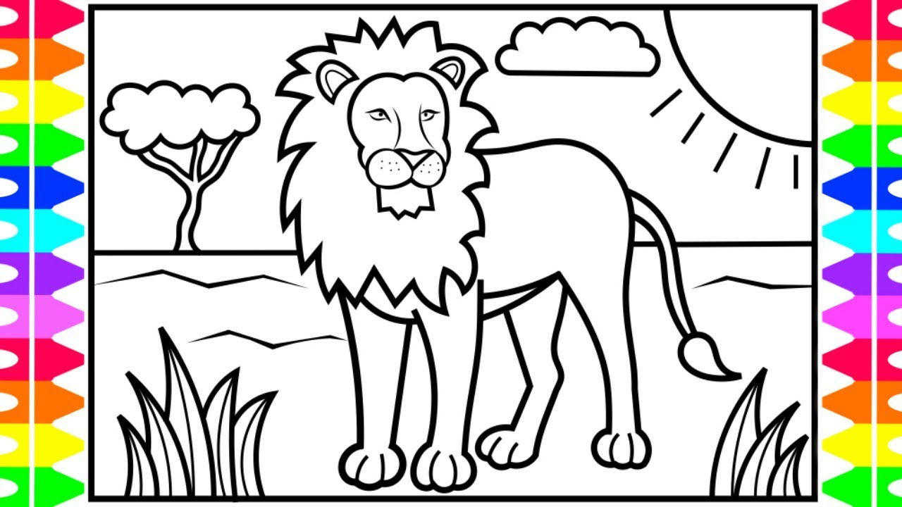 How to Draw a LION for Kids 🦁🧡💛💚LION Drawing and Coloring ...