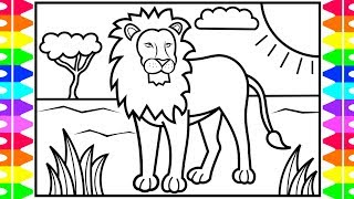 How to Draw a LION for Kids 🦁🧡💛💚LION Drawing and Coloring Pages for Kids