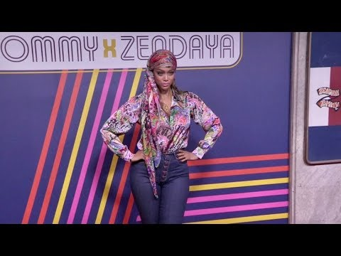 Tyra Banks poses for the photographers before the Tommy X Zendaya Fashion Show