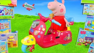 peppa-pig-unboxing-ride-on-vehicles-play-tent-george-amp-kitchen-toys-surprise-for-kids