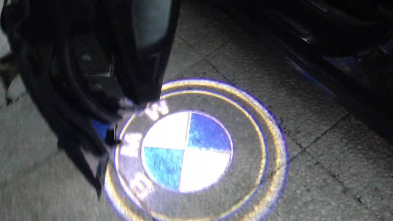 E46 door led logo - YouTube