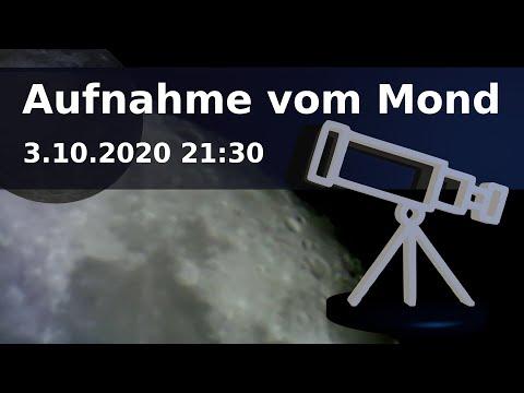 Teleskop Aufnahme vom Mond am 3.10.2020 21:30