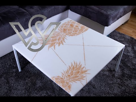 epoxy resin coffee table white 23 ct golden pineapple