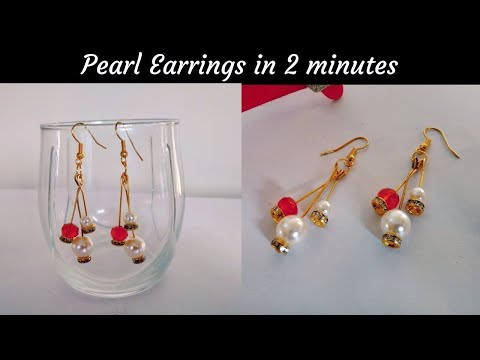 DIY Pearl Earrings in 2 minutes | Jewelry Making Ideas | Quick and Easy