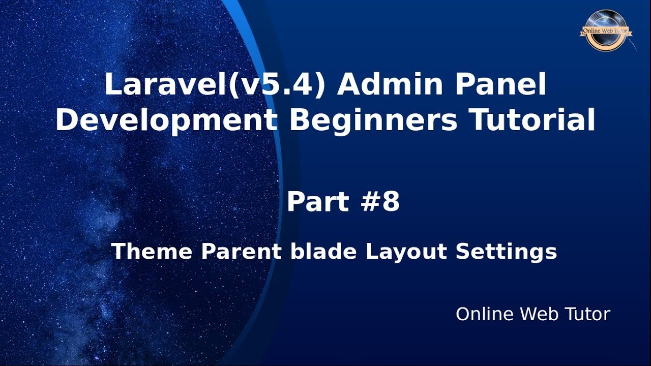 Laravel Admin Panel Development beginners Tutorial(#8