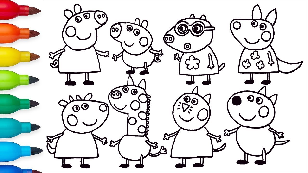 How to draw peppa pig and friends drawing and coloring for kids