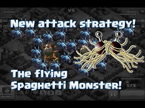 New clash attack strategy the flying spaghetti monster lava hounds