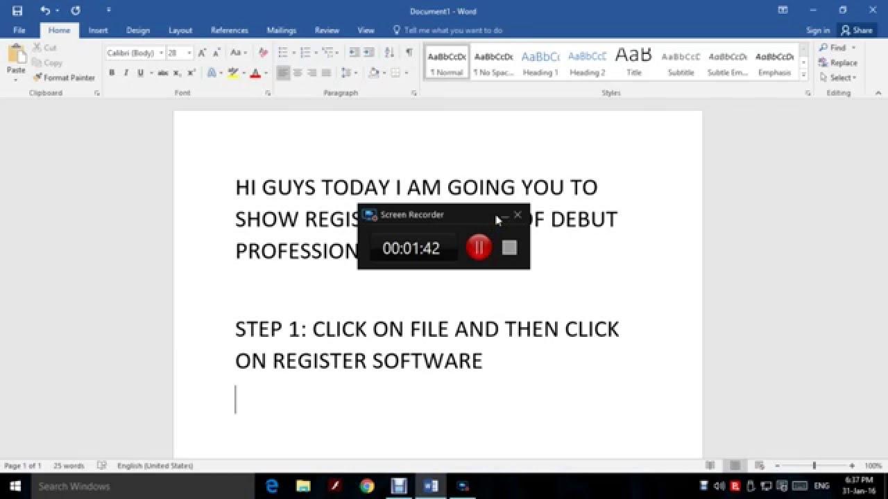 debut video capture software code