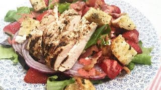 GRILLED CHICKEN SALADS WITH HOMEMADE STRAWBERRY POPPYSEED VINAIGRETTE