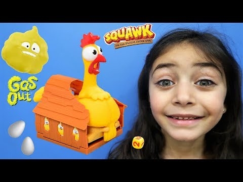 Squawk chicken egg game toy challenge! Family fun kids game night with HZHtube Kids Fun